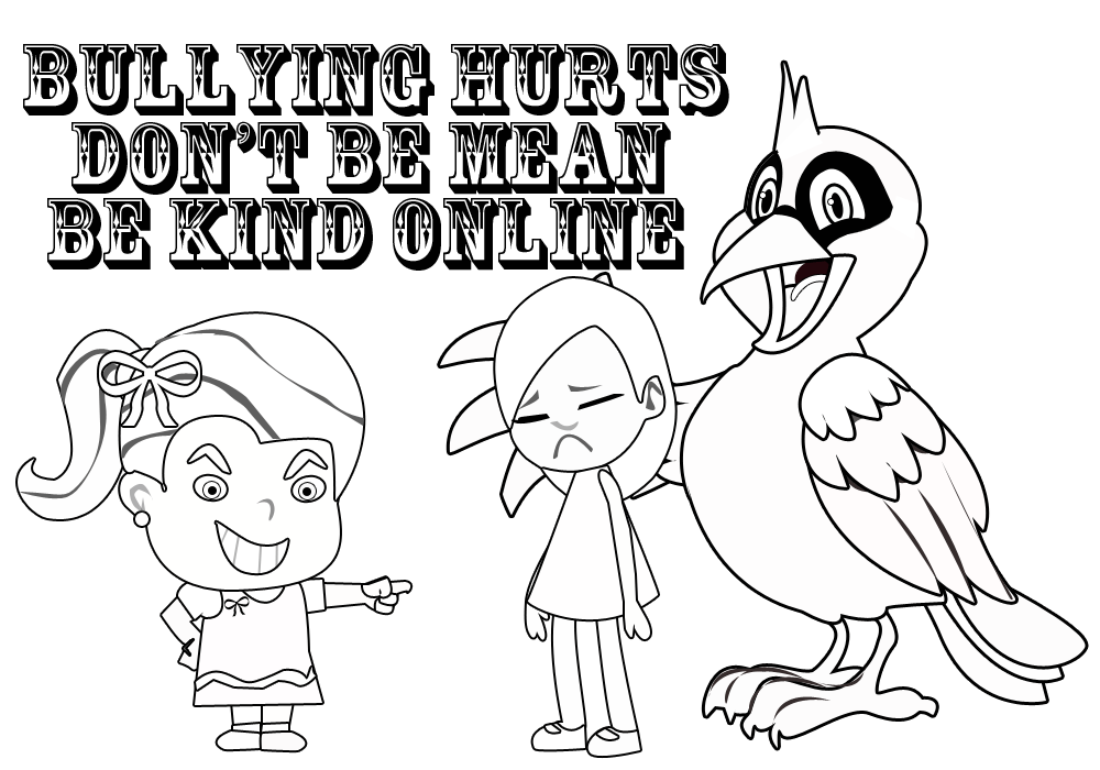 picture of brenda bully and a green crayon with the words no bullies coloring page