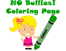 picture of Brenda Bully and a green crayon with the words NO Bullies! coloring page.