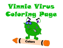 Picture of Vinnie Virus standing on an Orange Crayon with the words Vinnie Virus Coloring Page above it.