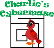 Charlie Cardinal's Cybermaze - picture of small maze with Charlie standing next to it.