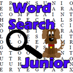 Picture of word search with magnifying glass and the words Word Search Jr.