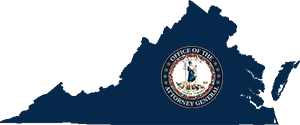 Virginia state shape with Virginia Attorney General seal on top