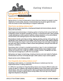 Virginia Rules Dating Violence Student Handout
